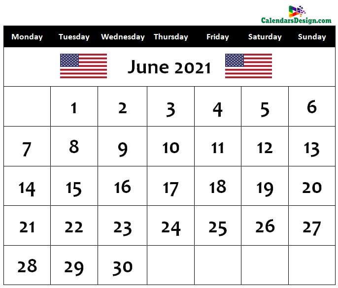 June 2021 us calendar