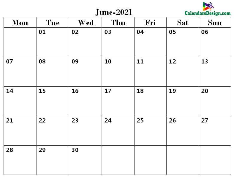 June 2021 word calendar download
