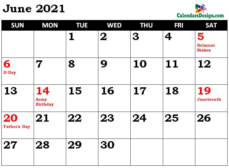 June Calendar 2021 Holidays