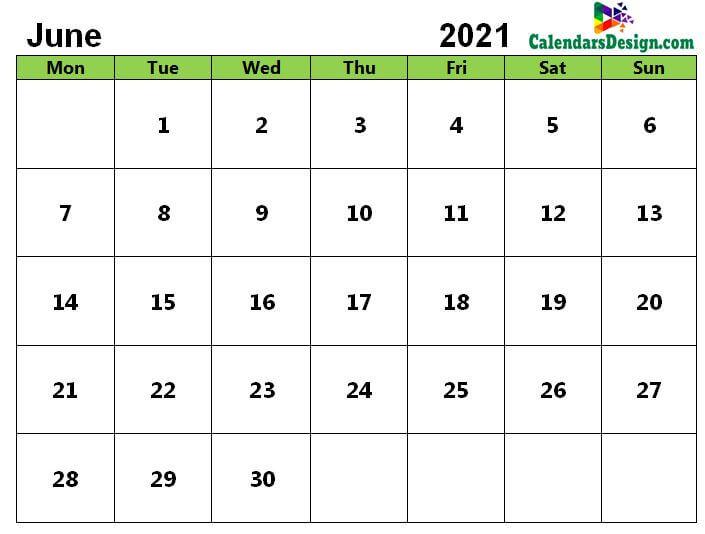 June Calendar 2021 PDF