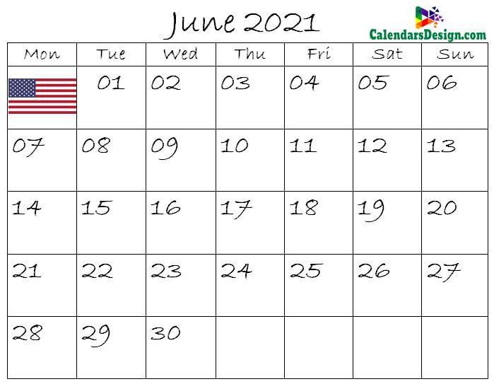 June Calendar 2021 USA