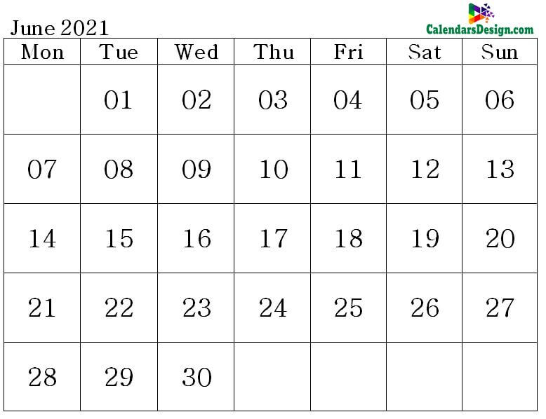 June Calendar 2021 Word Format