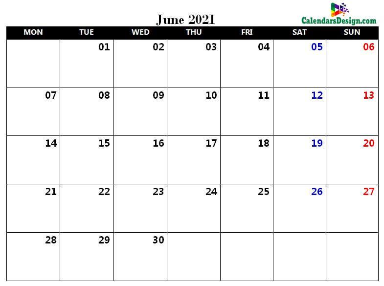 June Calendar 2021 in Excel Format