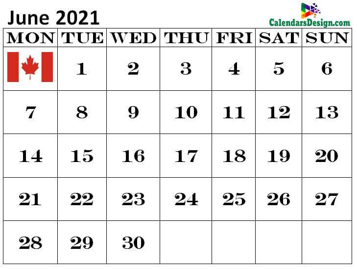 June Canada calendar 2021