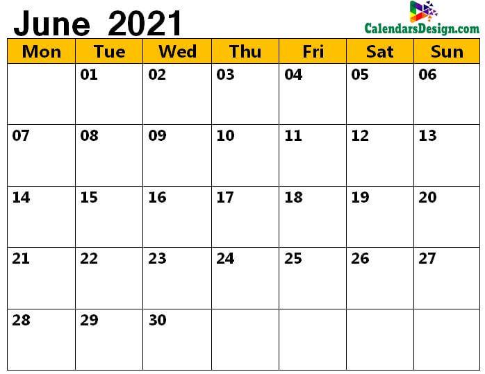 June calendar 2021 a4 page