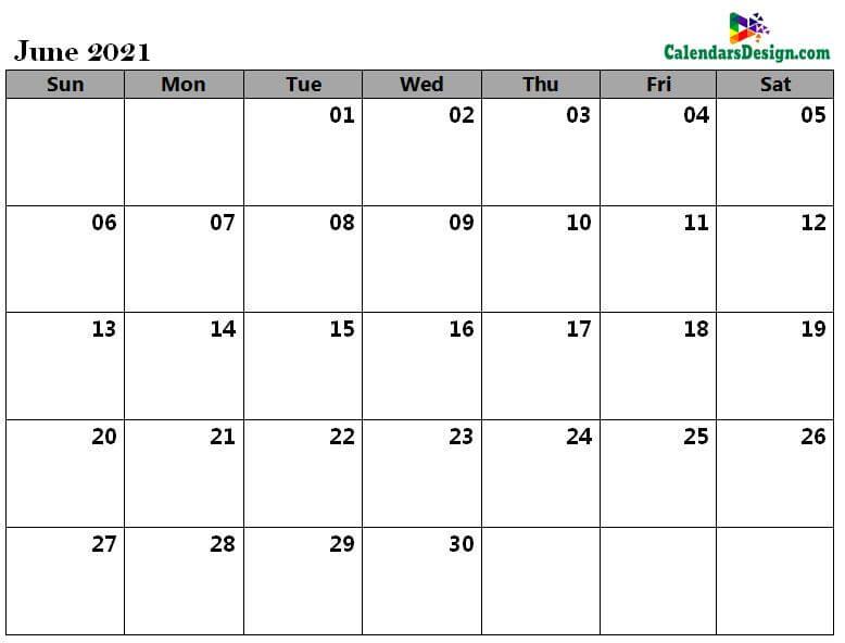 June calendar 2021 excel calendar