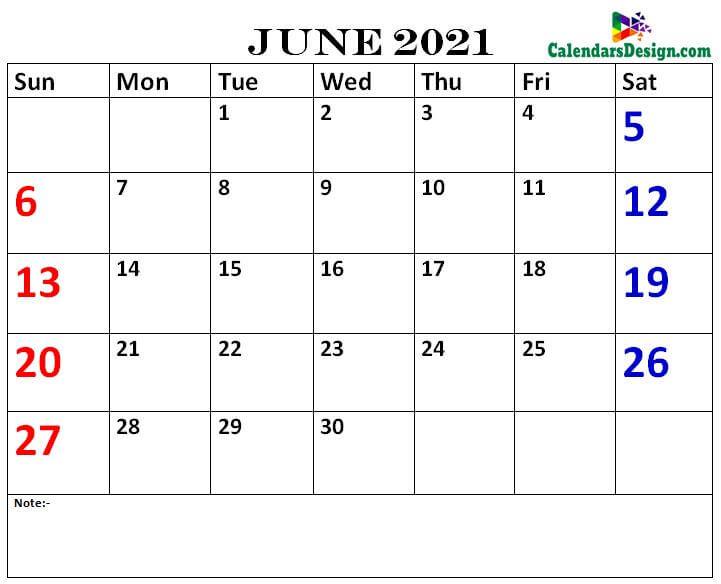June calendar 2021 printable online
