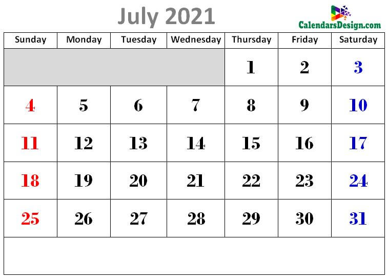Latest July 2021 cute calendar