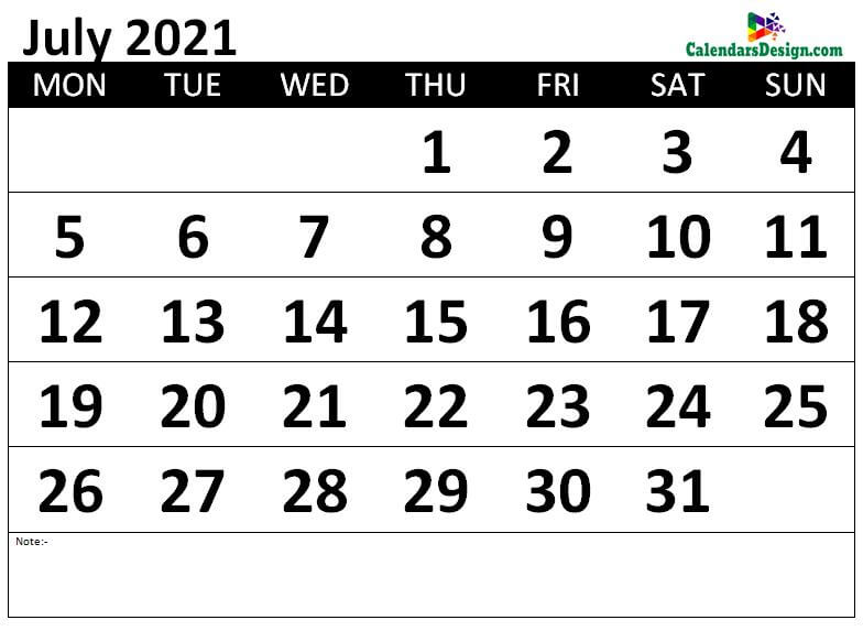 Monthly July 2021 calendar free