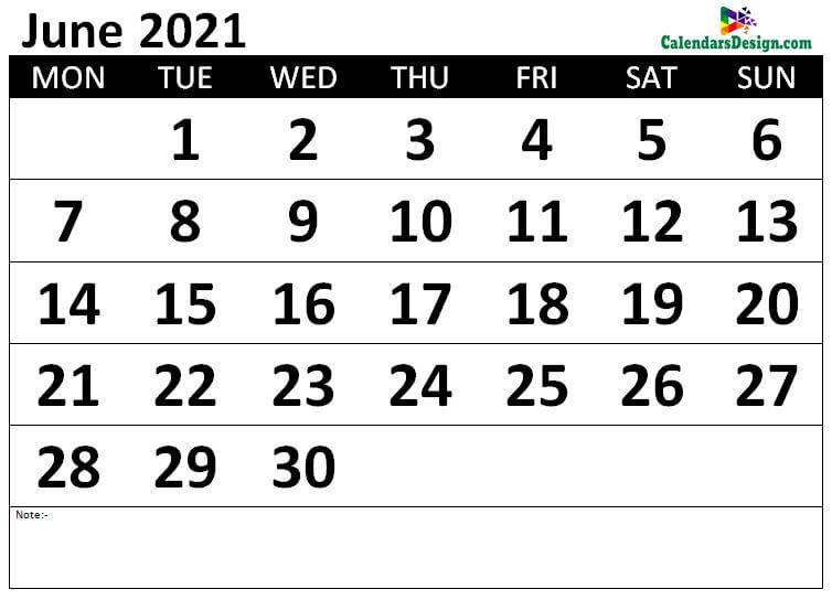 Monthly June 2021 calendar free