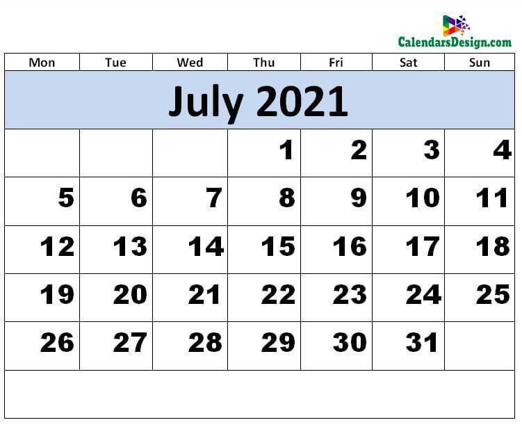 Print July 2021 calendar for free