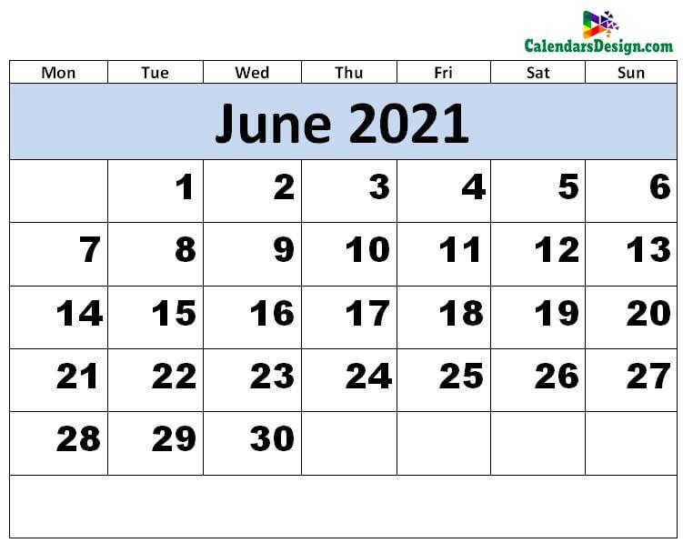 Print June 2021 calendar for free