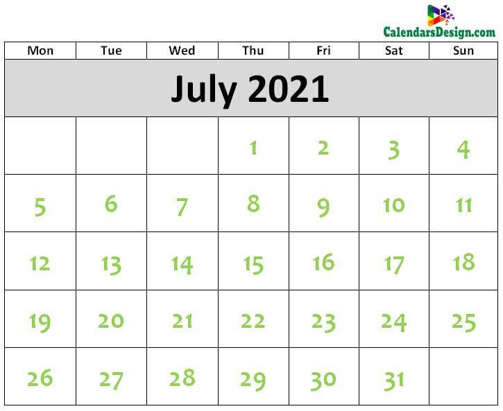 Printable Blank 2021 July Calendar Excel