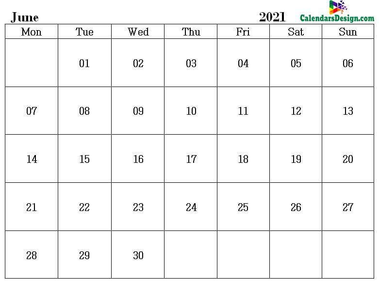Printable Blank 2021 June Calendar Excel