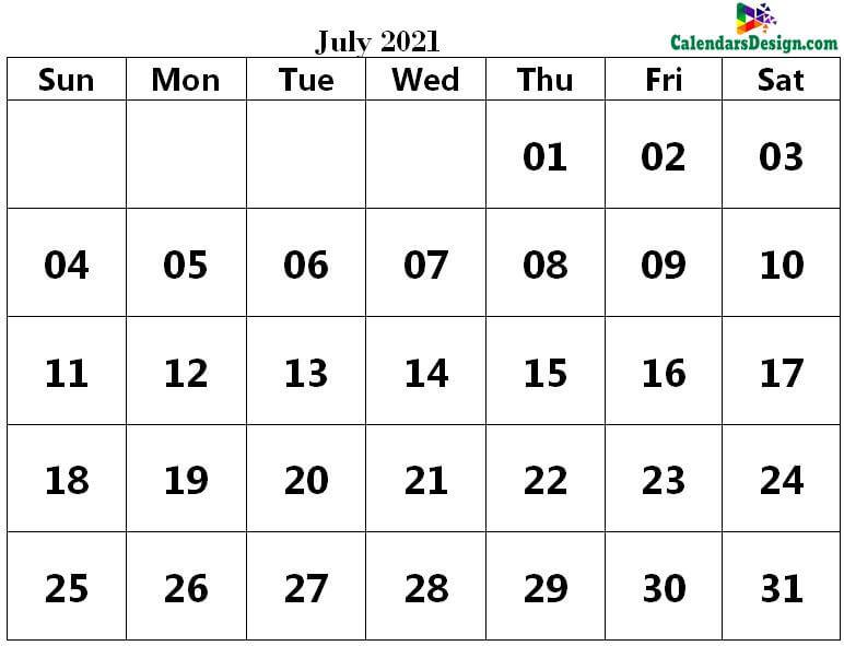 Printable Calendar for July 2021 PDF