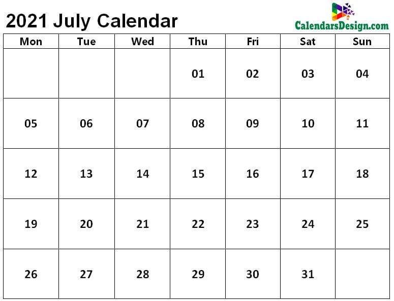 Printable Calendar for July 2021 Page