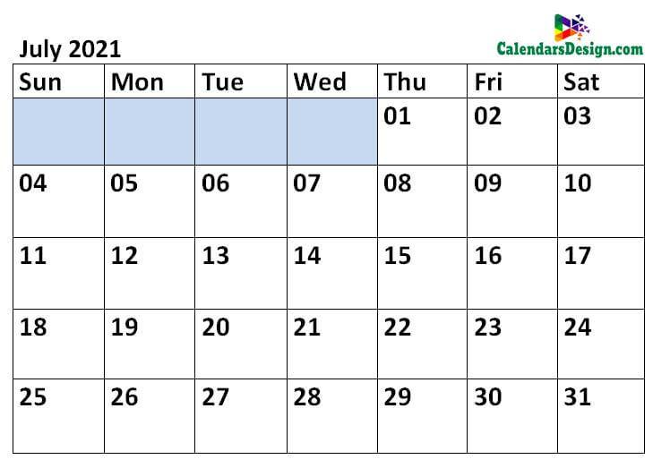 Printable Calendar for July 2021 Templates