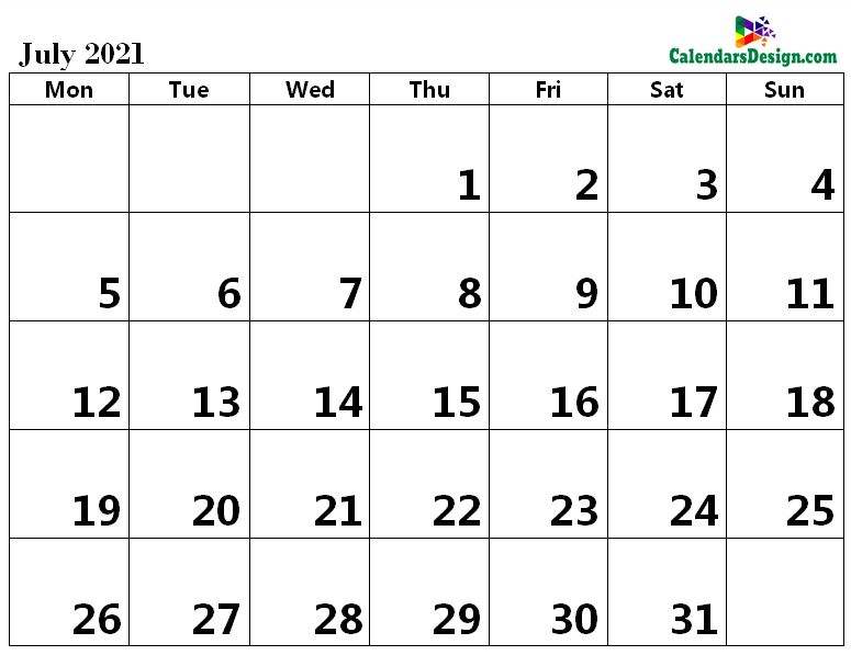 Printable Calendar for July 2021 Word