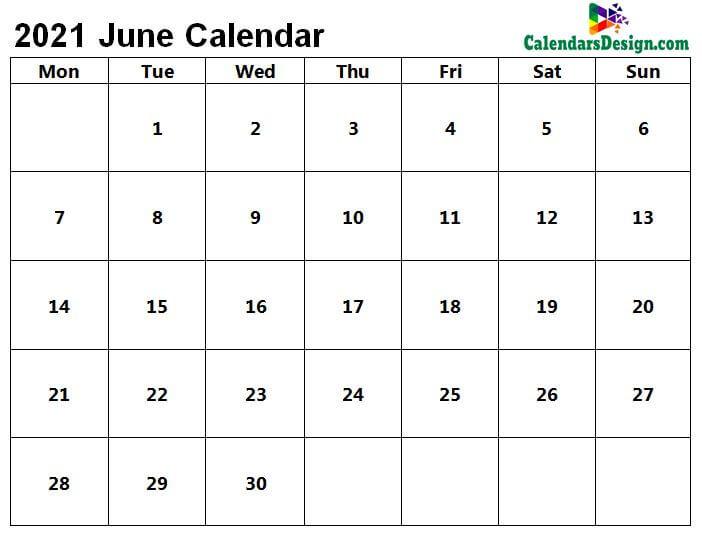 Printable Calendar for June 2021 PDF