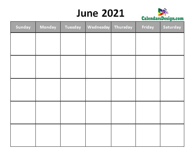 Printable Calendar for June 2021 Page