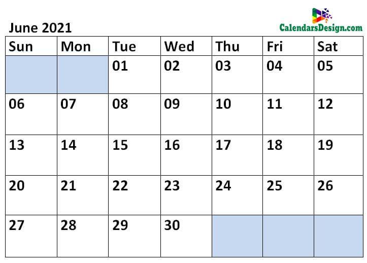 Printable Calendar for June 2021 Templates