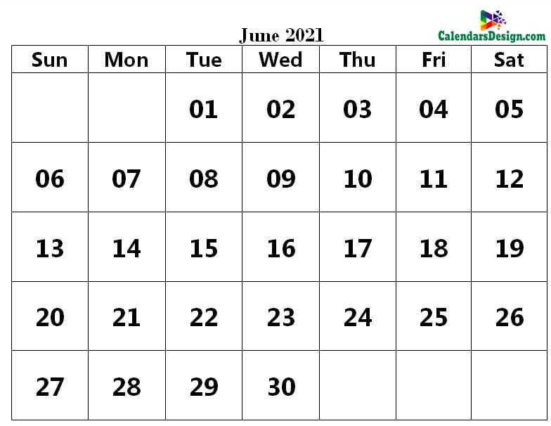 Printable Calendar for June 2021 Word