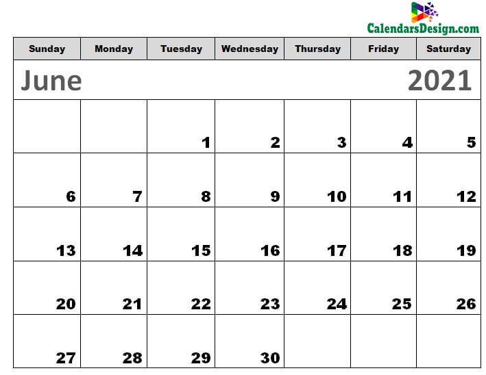 Printable Calendar for June 2021