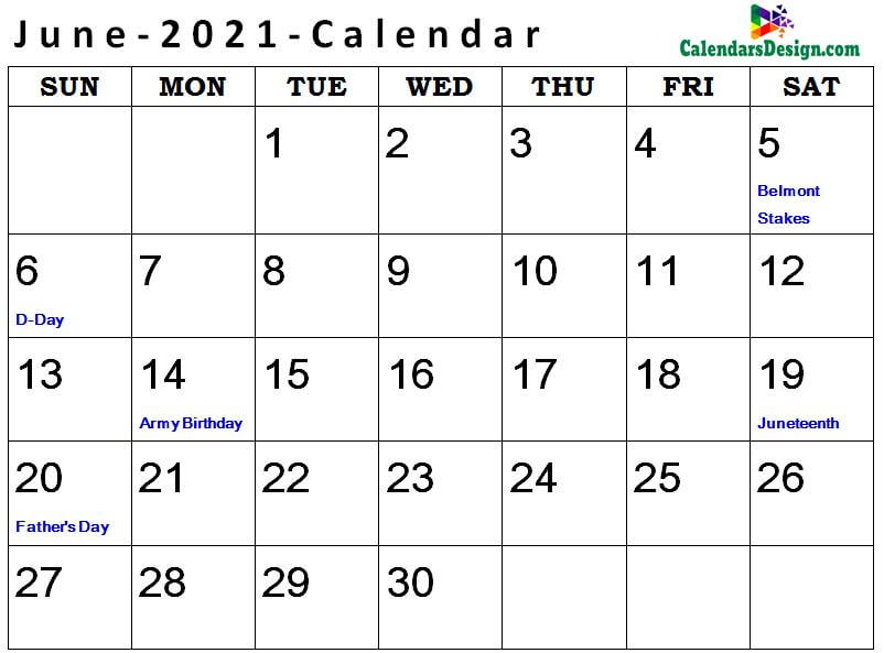 Printable June 2021 Holidays With Notes