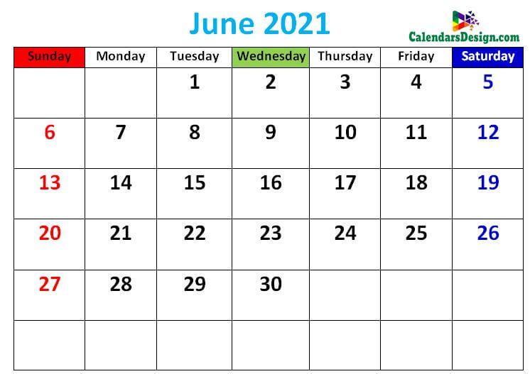 Printable June calendar 2021 cute