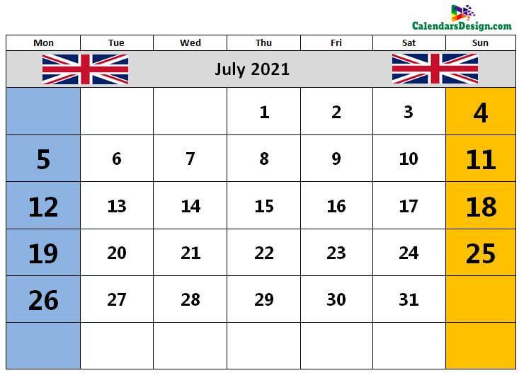 UK July 2021 calendar