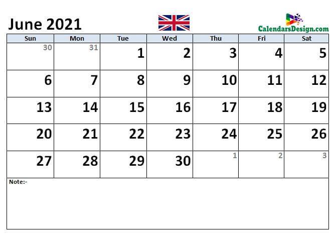 UK June 2021 calendar