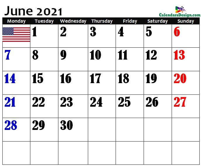 USA June 2021 calendar