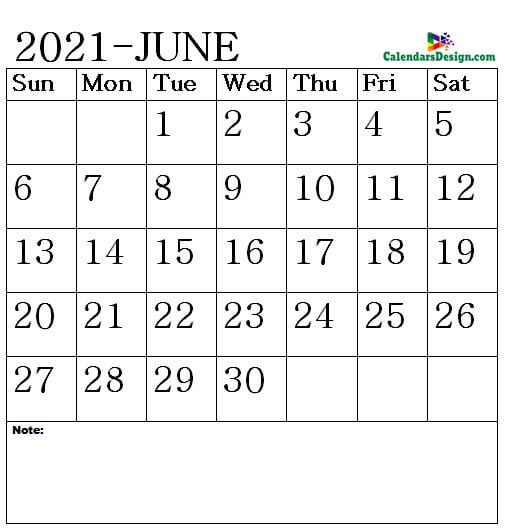 Vertex June Calendar 2021 Printable
