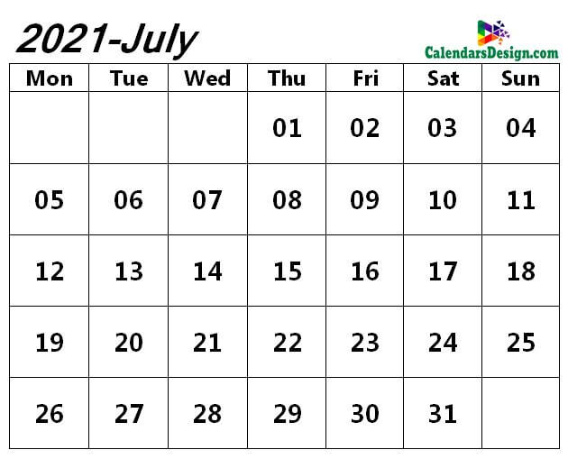 blank 2021 calendar for July month
