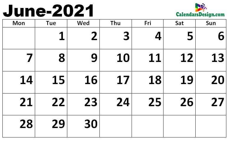 blank Jun 2021 calendar with notes