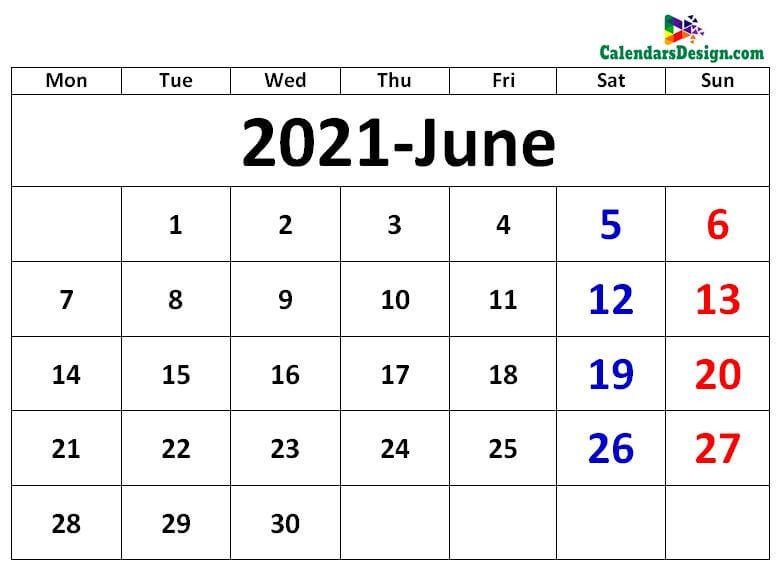 blank calendar for June month