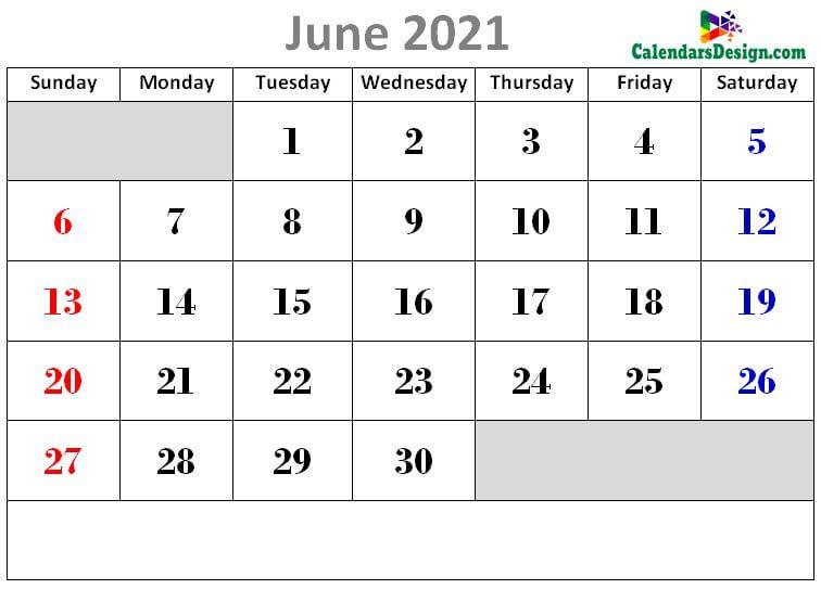 cute June 2021 calendars