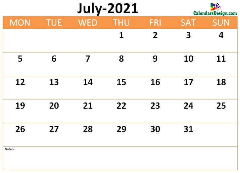 download July 2021 calendar online