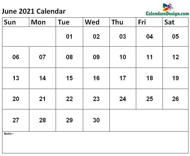 free Jun calendar 2021 printable