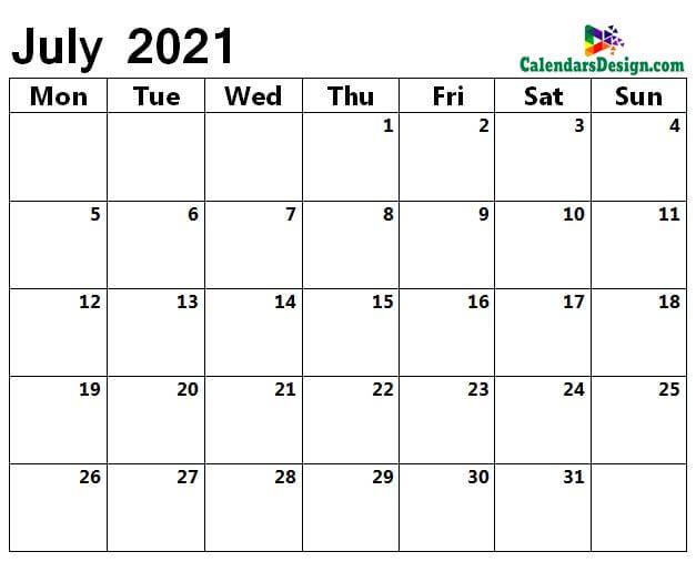 monthly July 2021 blank calendar