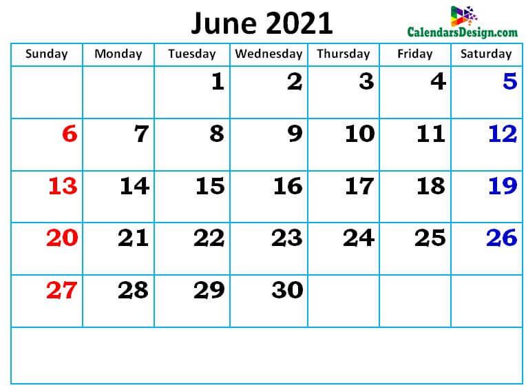 new cute June month calendar designs