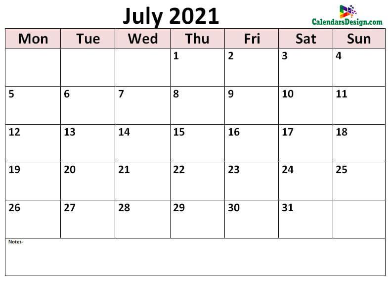 print July calendar 2021