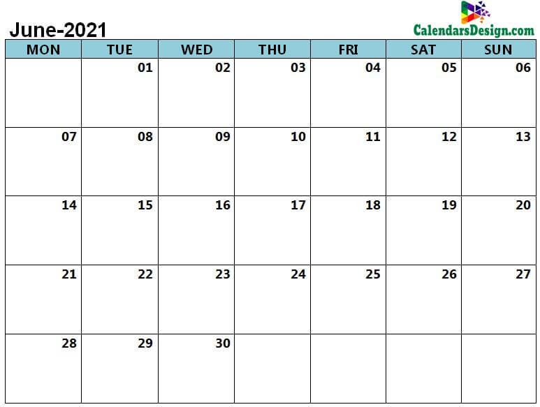 print June 2021 calendar in pdf