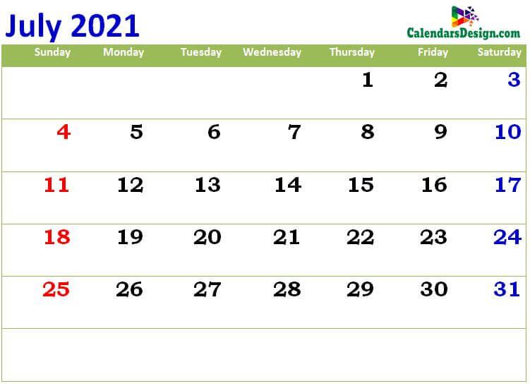print cute Jul 2021 calendar