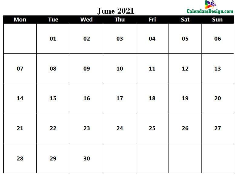 word calendar June 2021