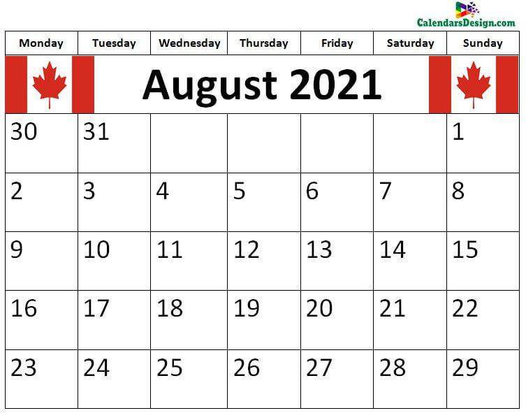 2021 August Calendar Canada