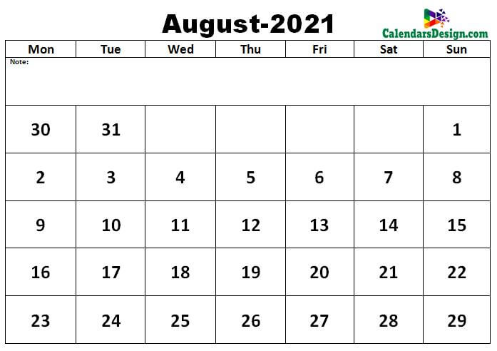 2021 August Calendar template in excel