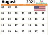 2021 August US Calendar