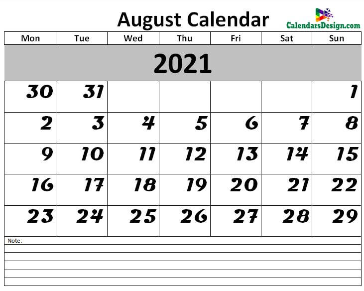 2021 Calendar August Excel Templates