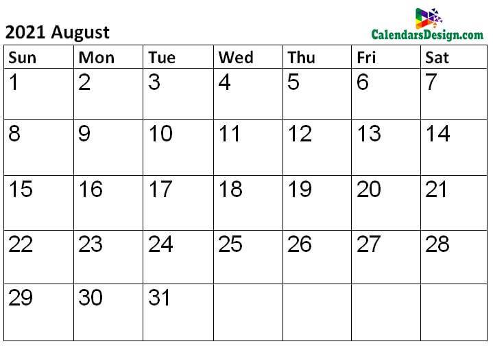 2021 Calendar August Template